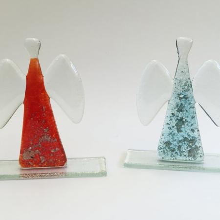 Erinnerungsskulptur aus Kristallglas Engel