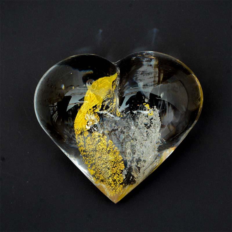 Erinnerungskristall Handschmeichler Herz Gold