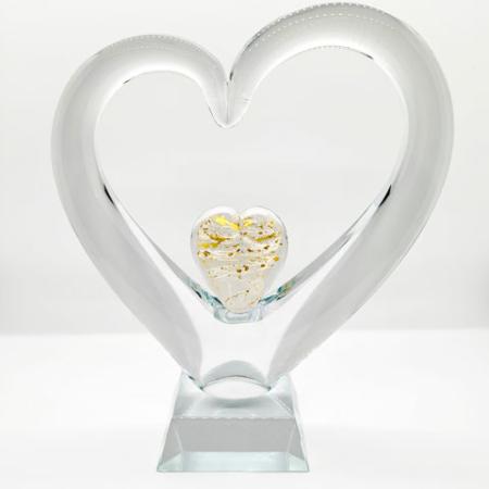Erinnerungskristall Herz im Herz mit Gold