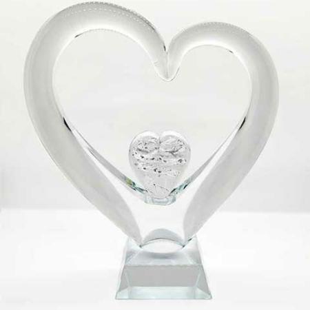 Erinnerungskristall Herz im Herz kristallklar