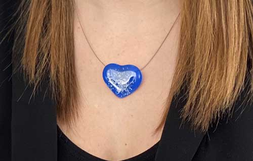 Blaue Herz Anhänger mit Edelstahl Collier