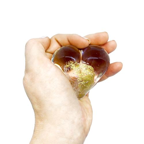 Erinnerungskristall als Handschmeichler - Herz Gold